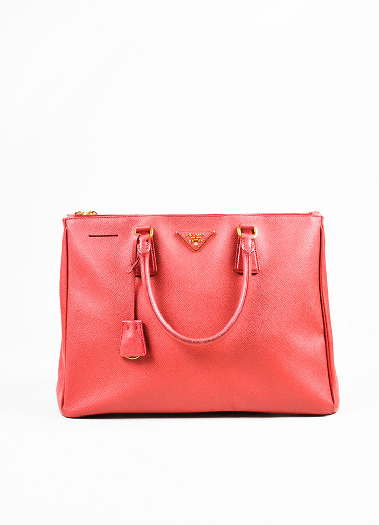 "Prada Red Saffiano Lux Leather ""Medium Executive Tote"" Handbag Frontview"