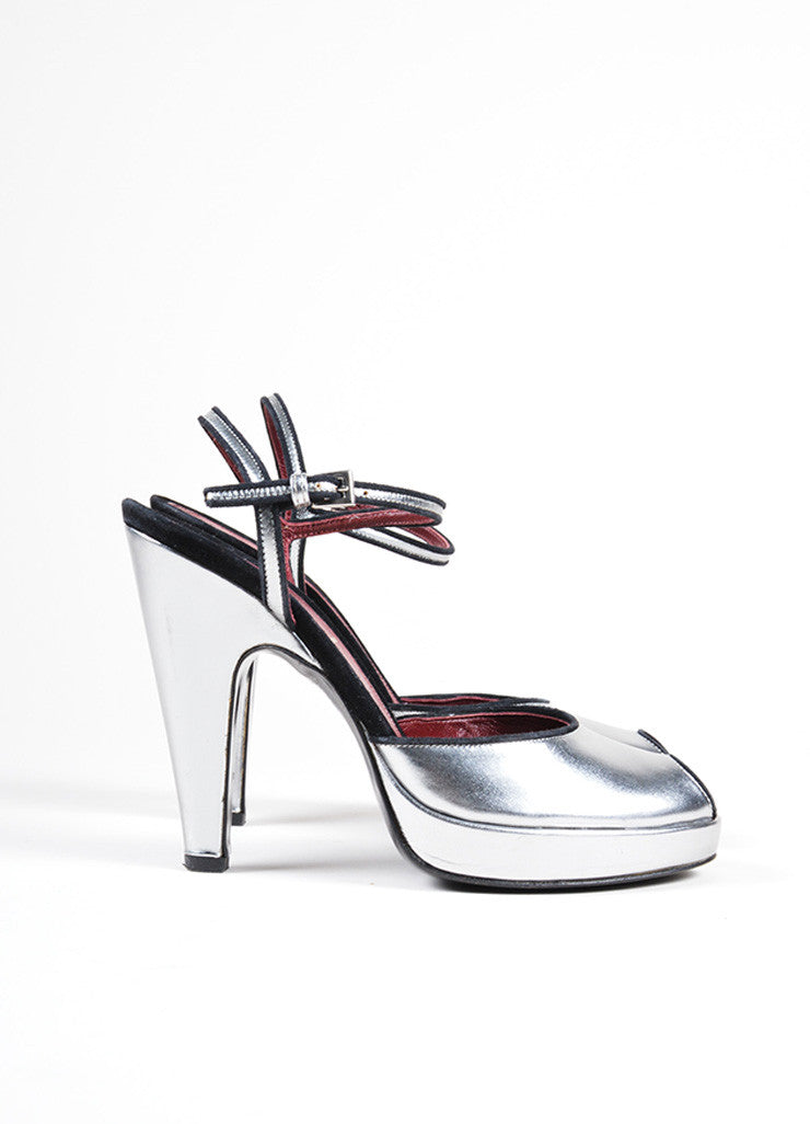 Prada Silver Leather Peep Toe Ankle Strap Sandals Side