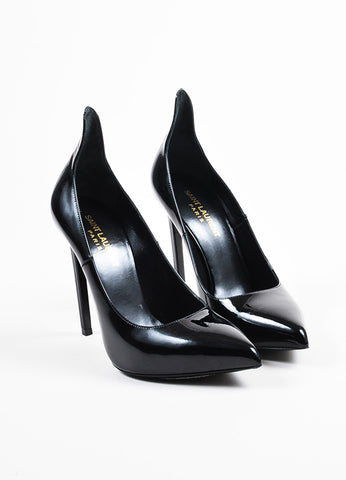 Saint Laurent Black Patent Leather Pointed Toe Pumps Frontview
