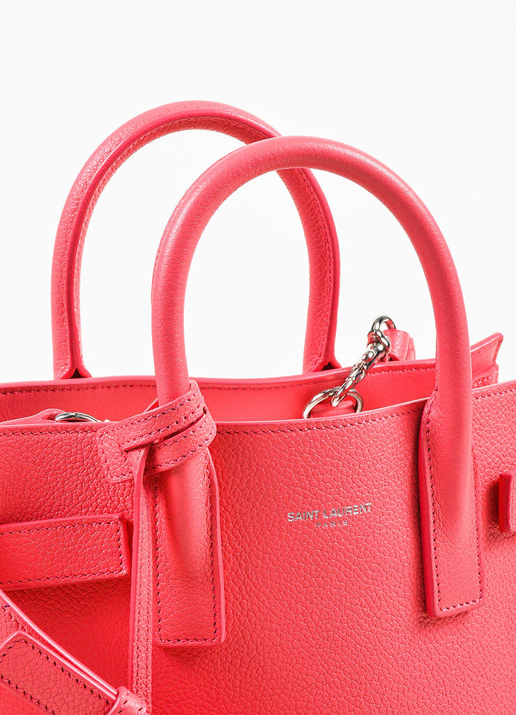 "Saint Laurent Pink Grain Leather ""Nano Sac de Jour"" Bag Detail 3"