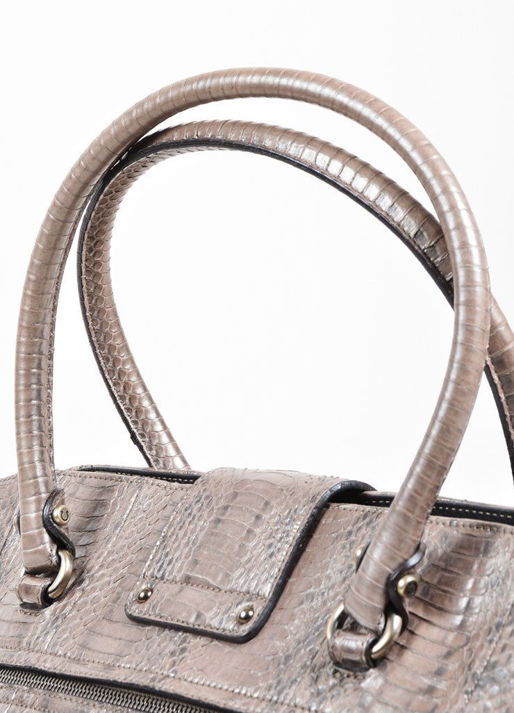"Silver-Grey Metallic Python Salvatore Ferragamo ""Sophia"" Tote Bag Detail 2"