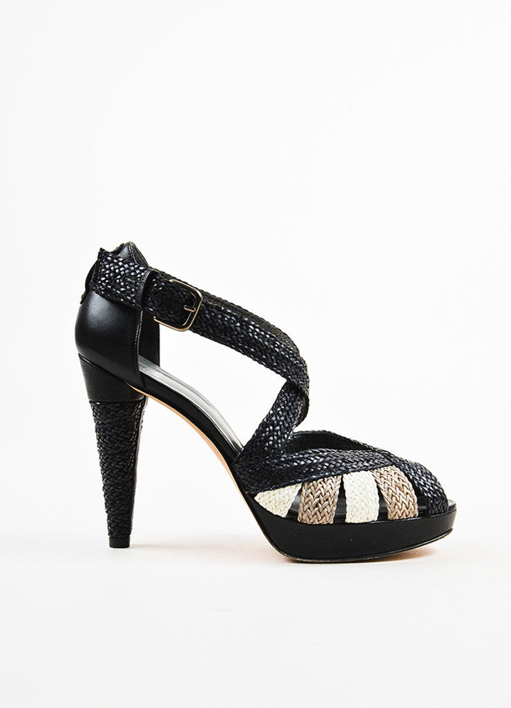 "Black Stuart Weitzman Woven Leather ""Bradford"" Sandals Side"