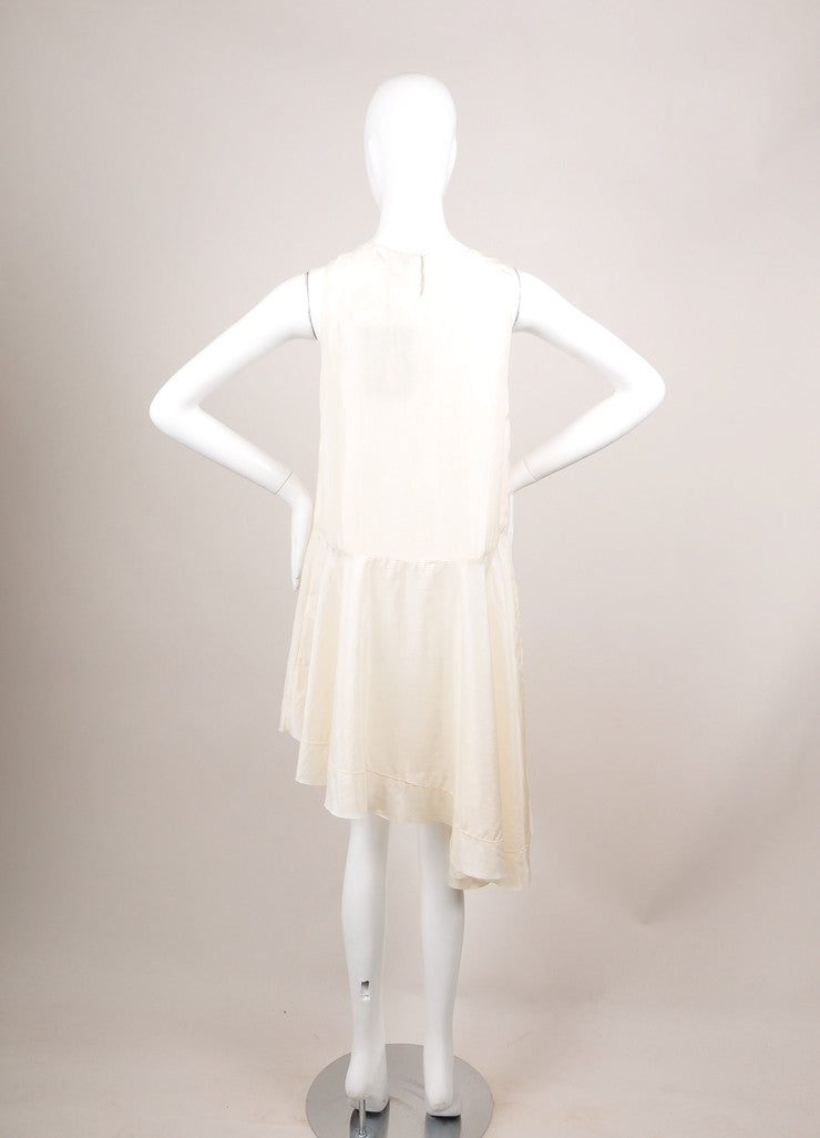"The Row Cream Silk Sleeveless Asymmetric ""Raya"" Tunic Dress Backview"