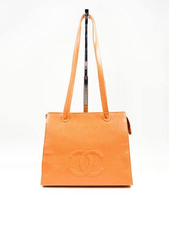 "Cognac and Orange Chanel Large ""CC"" Caviar Square Tote Bag Frontview"