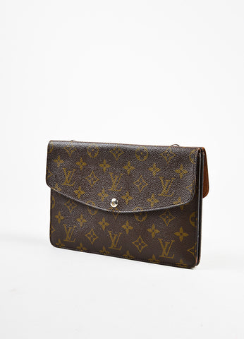 "Brown Louis Vuitton Coated Canvas Monogram Flap ""Double Rabat"" Clutch Side"