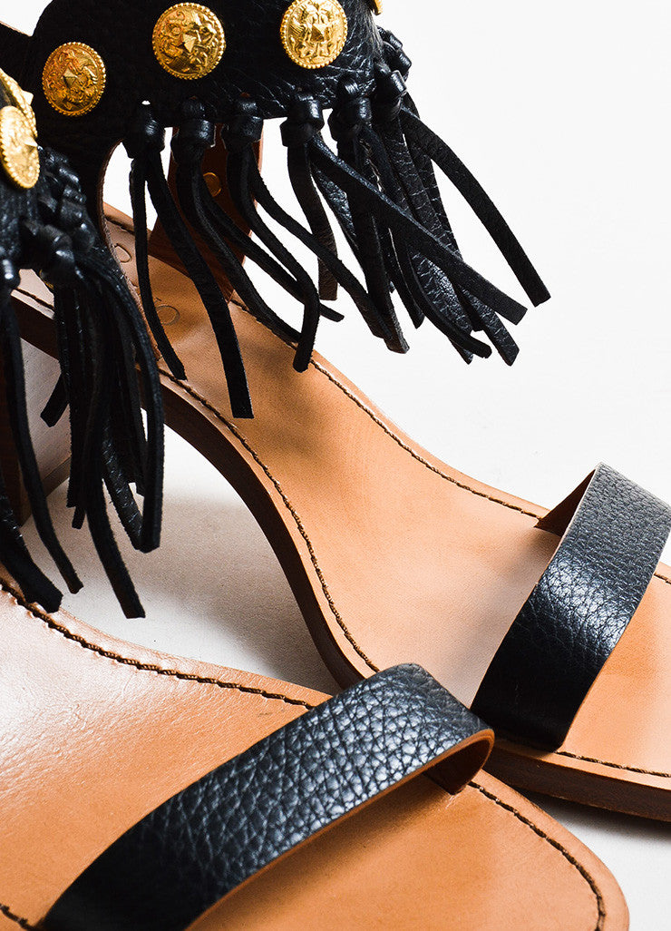 Valentino Black, Brown, and Gold Toned Leather Fringe Medallion Heel Sandals Detail