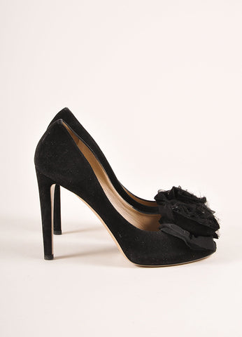 Valentino Black Suede Leather Chiffon Rosette Embellished Peep Toe Pumps Sideview
