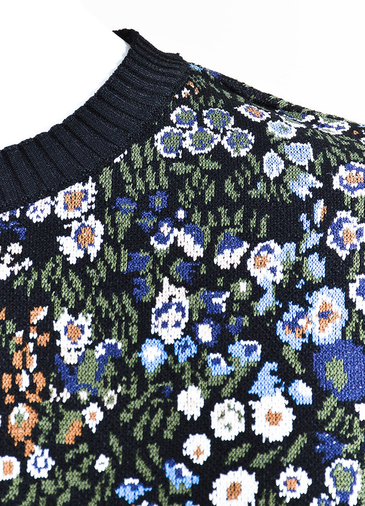 Multicolor Valentino Floral Design Garden Knit Top Detail