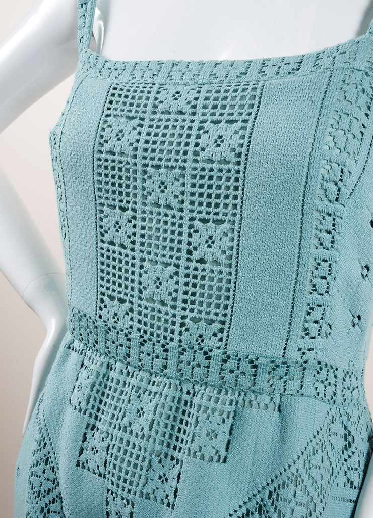 Valentino Teal Cotton Lattice Stitched Crochet Sleeveless Maxi Dress Detail