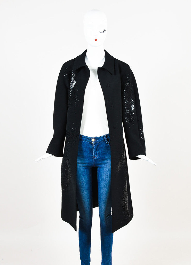 Valentino Roma Black Wool Feather Sequin Embellished Coat Frontview