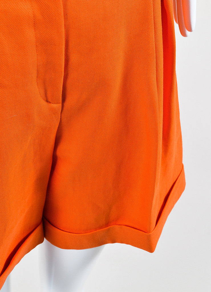 Bright Orange Versace Ramie High Waist Long Cut Cuffed Bermuda Shorts Detail