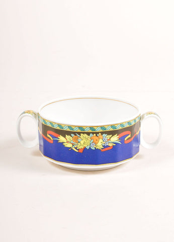"Versace Rosenthal Blue and Multicolor ""Le Roi Soleil"" Small Soup Cup  Frontview"