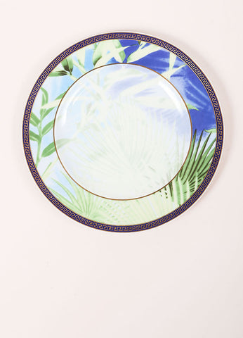 "Versace Rosenthal Green and Blue ""Jungle"" 7 inch Bread and Butter Plate Frontview"