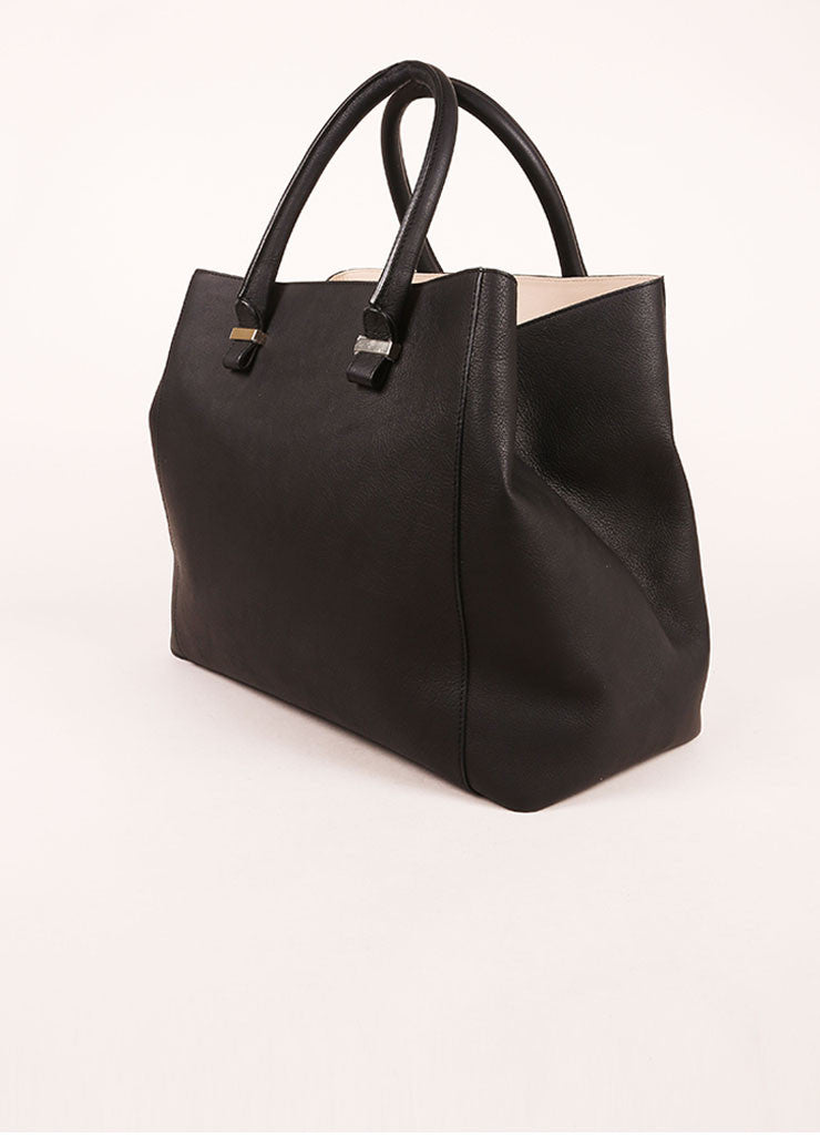 "Victoria Beckham Black Matte Grained Leather ""Liberty"" Tote Bag Sideview"