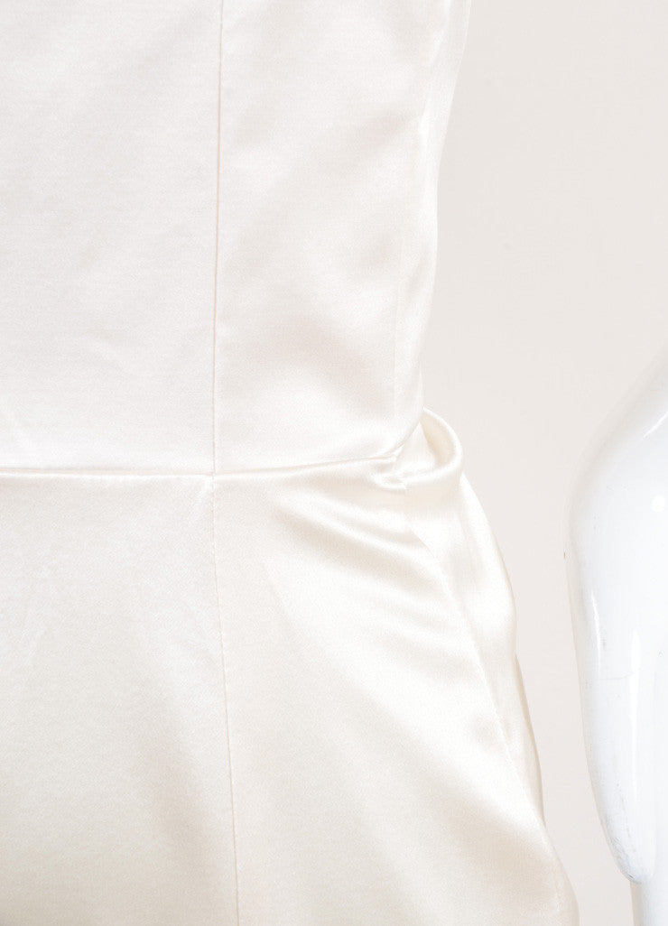 Yves Saint Laurent New With Tags Cream Silk Satin Corset Strapless Dress Detail