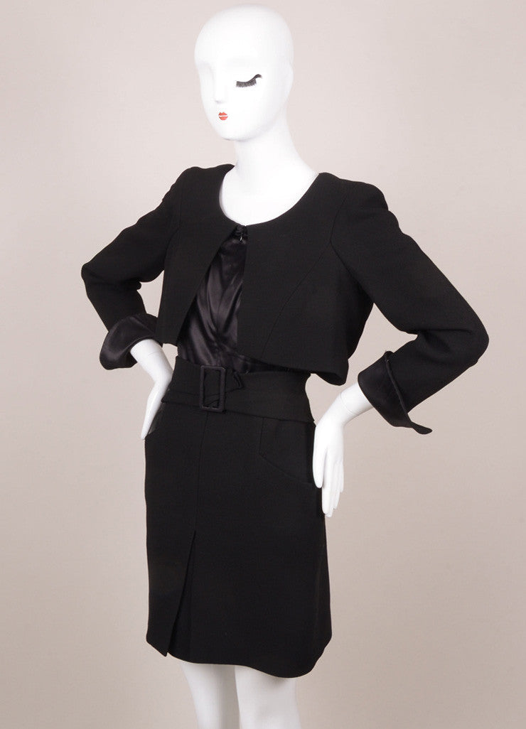 Chanel Black Silk and Wool Zip Front Belted Long Sleeve Dress Sideview