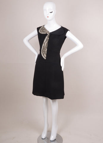 Black and Silver Embellished Trim Sleeveless Dress