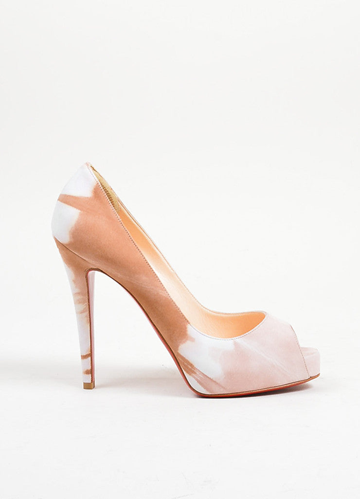 "Tan and Blush Print Suede Christian Louboutin ""Very Prive Woodstock"" Heels Sideview"