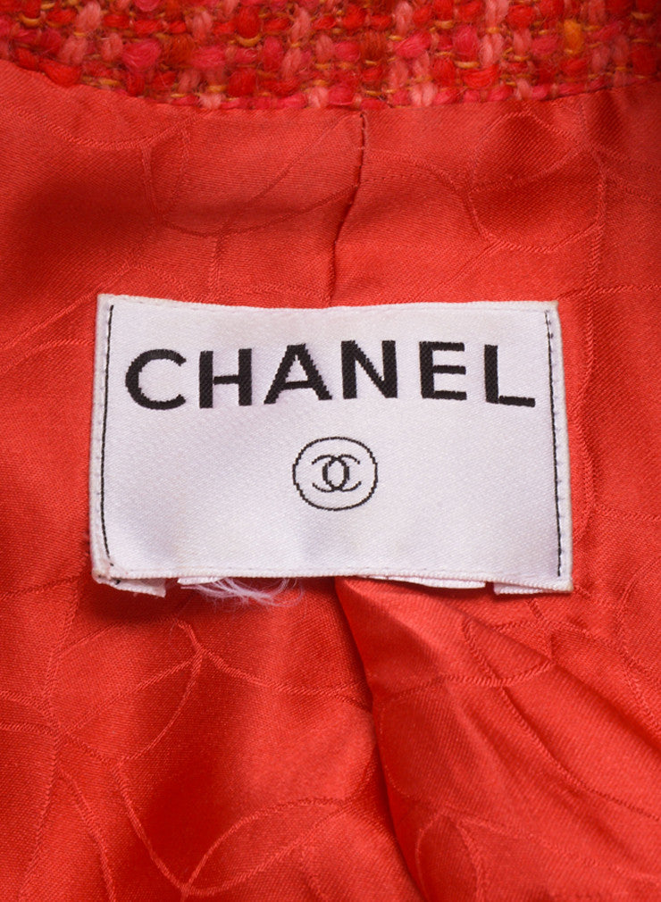 Chanel Red and Pink Tweed Long Sleeve Jacket Brand