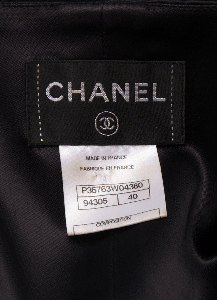 Chanel Black Silk and Wool Zip Front Belted Long Sleeve Dress Brand