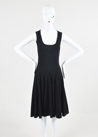 Alaia Black Stretch Textured Scoop Neck A-Line Sleeveless Dress Frontview