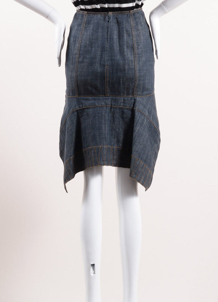 Alaia Blue Cotton Pleated Back Slit Knee Length Denim Skirt Backview