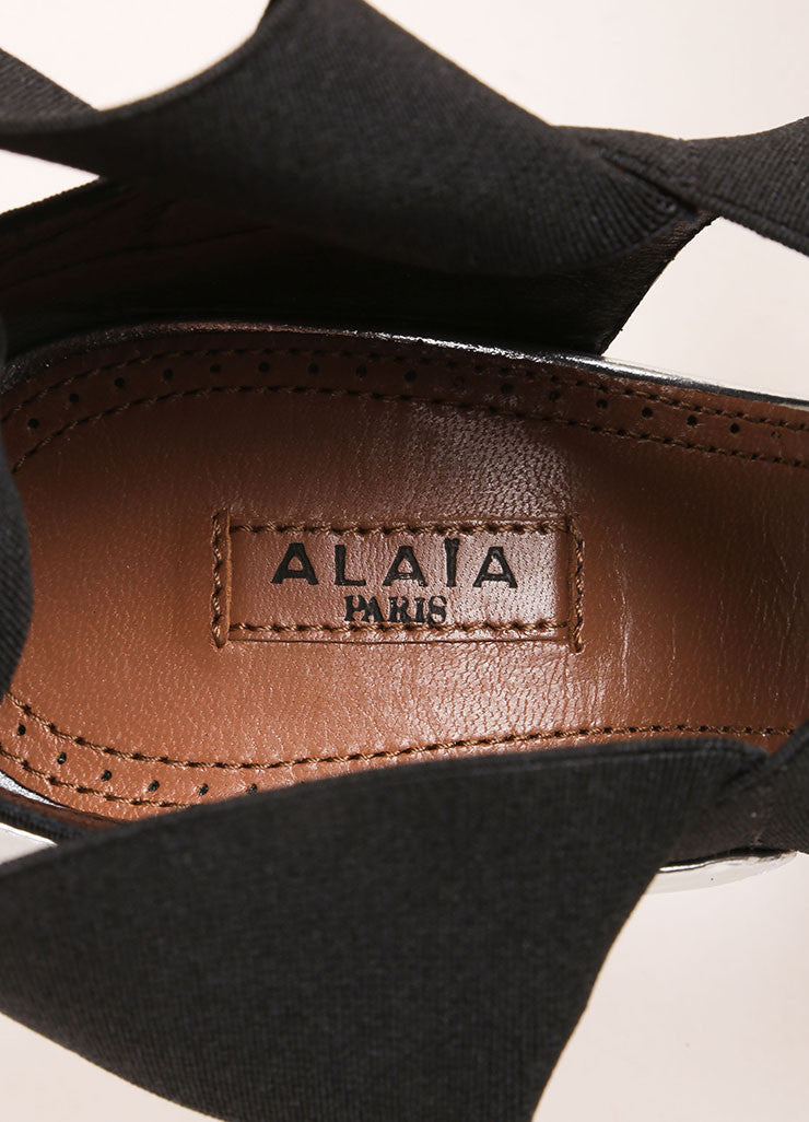 Alaia New In Box Silver Metallic Black Elastic Strap Peep Toe Leather Ankle Heels Brand