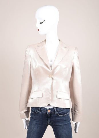 Alexander McQueen Beige and Silver Metallic Cotton and Wool Long Sleeve Blazer Frontview