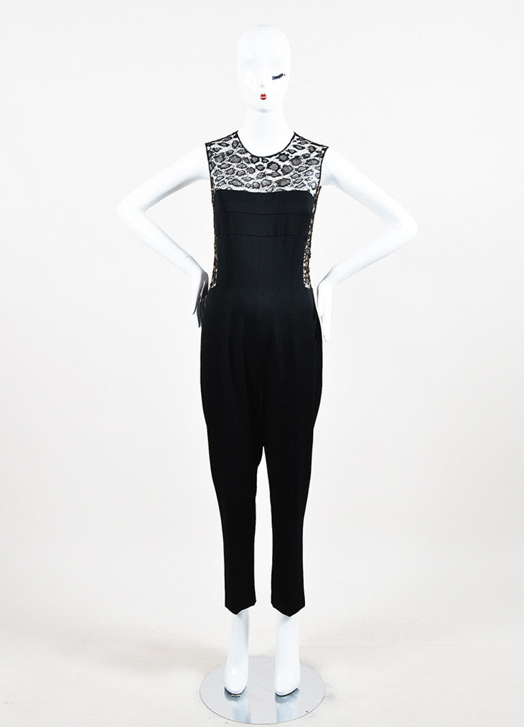 Alexander McQueen Black Crepe and Lace Leopard Patterned Inset Jumpsuit Frontview
