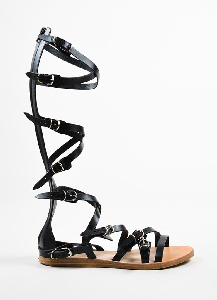 "Balenciaga Black Leather Buckle Strap Gladiator ""Papier"" Sandals Sideview"