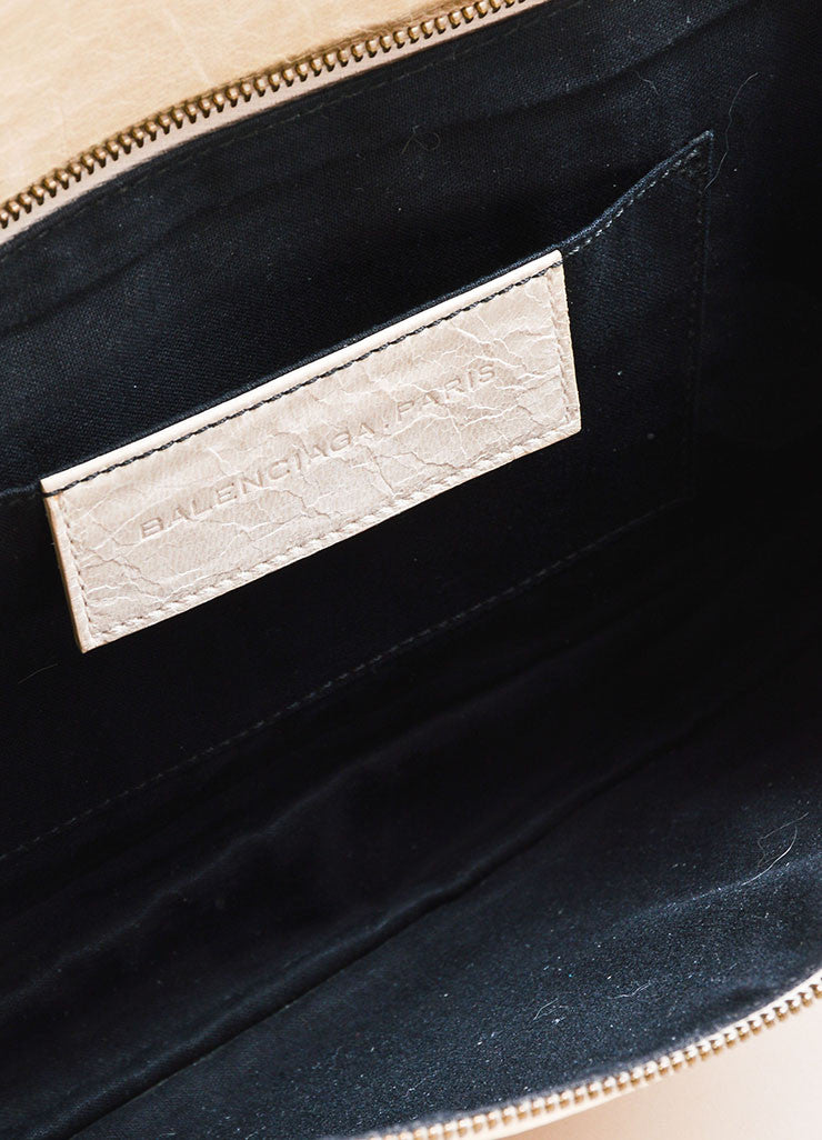 Beige Leather Balenciaga Motocross Clutch Interior