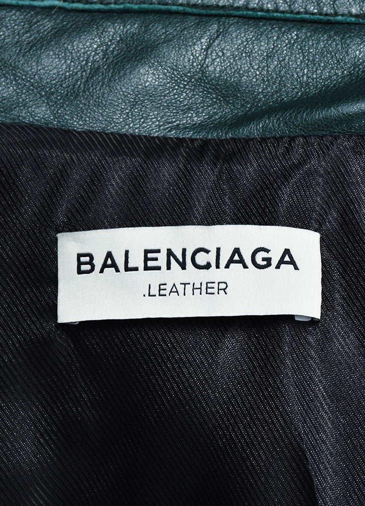 Dark Green Balenciaga Leather Long Sleeve Moto Jacket Brand
