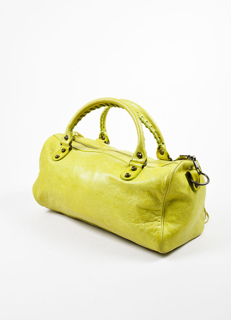 Lime Green Balenciaga Leather Pompon Studded Twiggy Bag Side