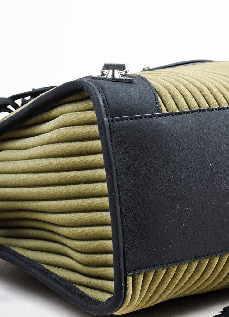 "Balenciaga Black and Olive Green Neoprene Leather ""Classic City"" Bag Detail"