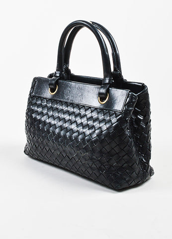 Bottega Veneta Black Leather Intrecciato Woven Handbag Sideview