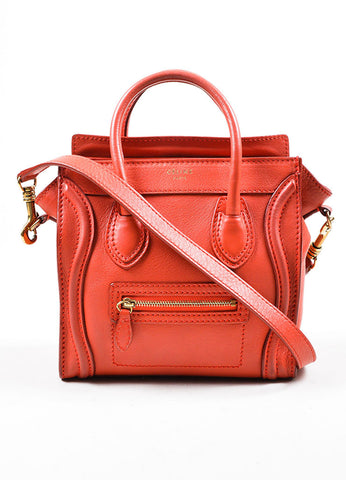 """Lipstick"" Red Celine Leather ""Nano Shopper"" Crossbody Tote Bag Frontview"