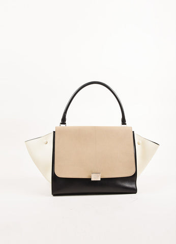 "Celine Taupe, Black, and Cream Leather ""Medium Trapeze"" Color Block Tote Bag Frontview"