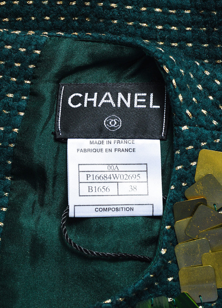 Chanel Hunter Green and Gold Wool Dotted Embellished Sleeveless Shell Top Brand