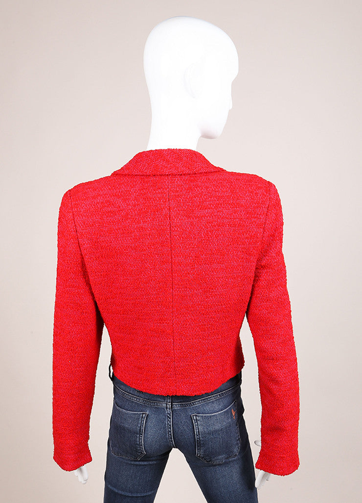 Chanel Red and Pink Wool Tweed Woven Knit Long Sleeve Jacket Backview