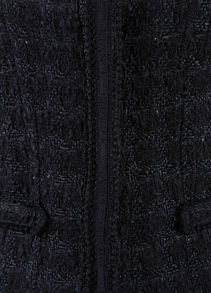 Chanel Black and Navy Blue Cotton and Silk Tweed Tie Back Button Down Jacket  Detail