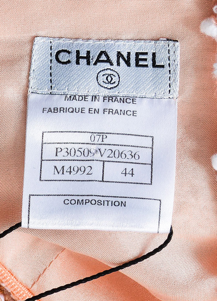 Chanel Peach and White Tweed Cross Strap Strip Ruffled Shift Dress Brand