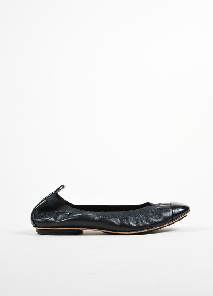 "Black Chanel Leather Patent Cap Toe Elastic ""Spirit"" Flats Sideview"