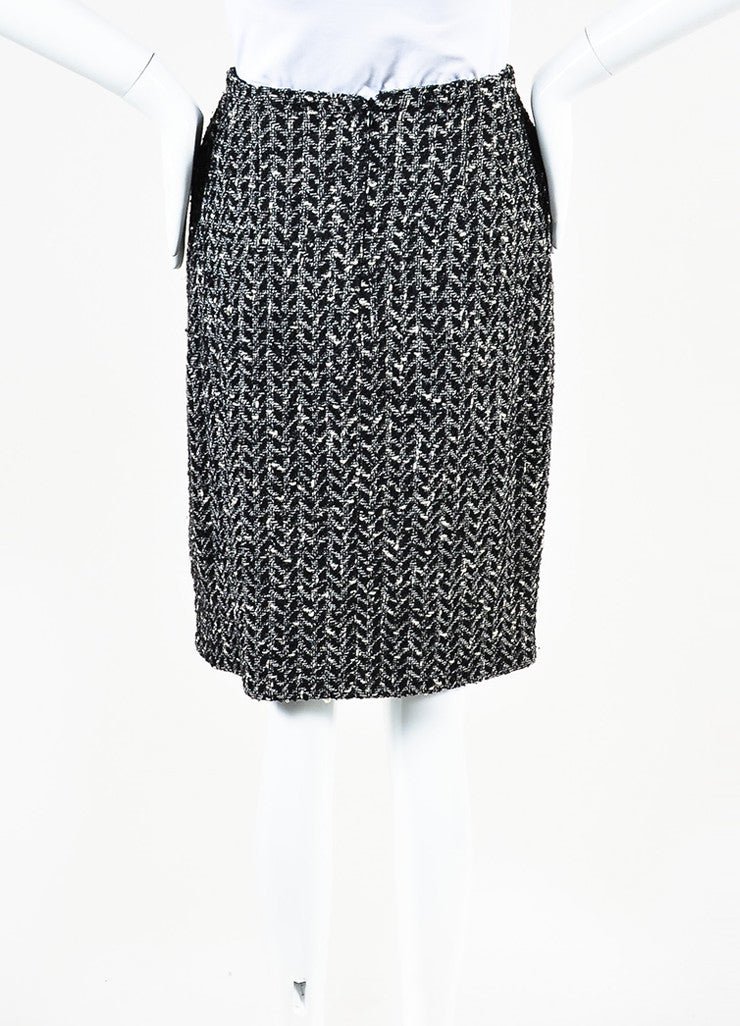 Chanel Black and White Wool Boucle Tweed Back Zip Pencil Skirt Frontview