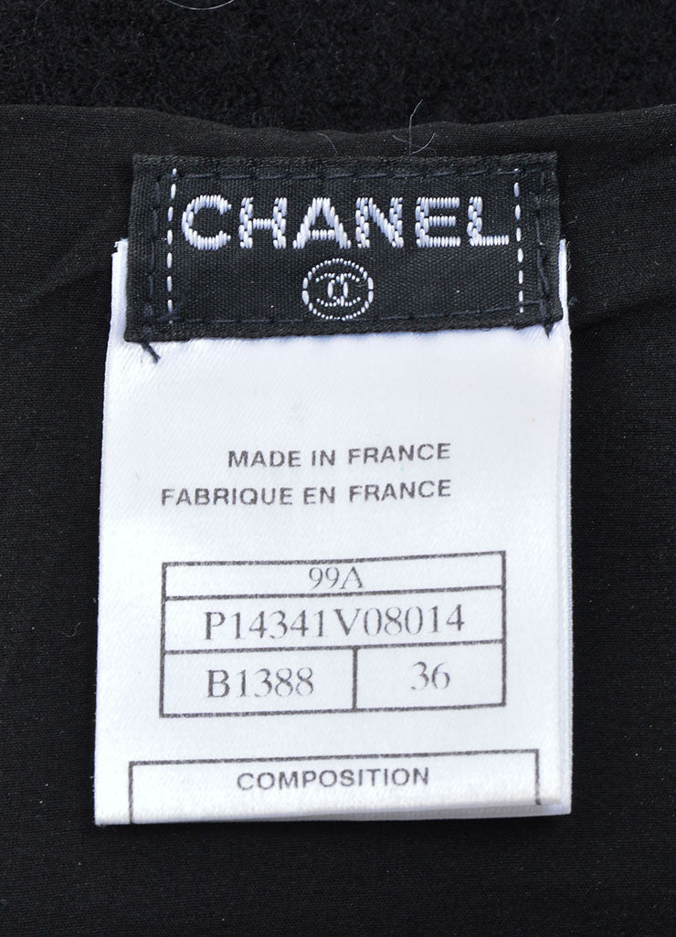 Chanel Black Wool Long Fingerless Gloves Brand