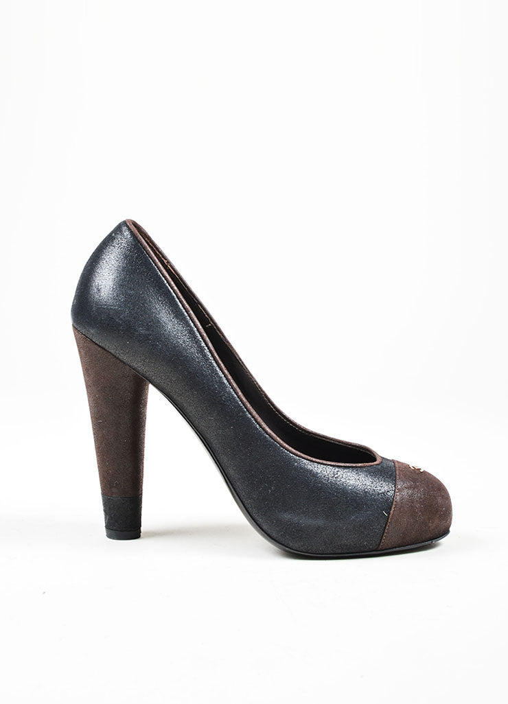 Black and Brown Chanel Suede Leather Platform 'CC' Cap Toe Pumps Sideview