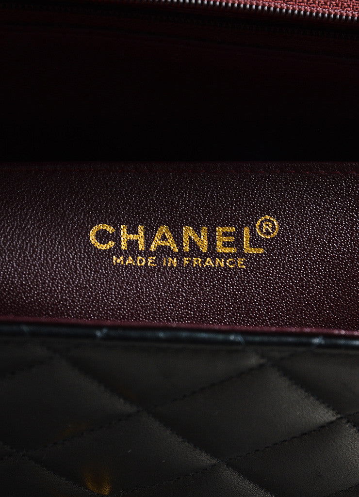 "Chanel Black and Gold Toned Lambskin Quilted 'CC' Turnlock ""Jumbo Flap"" Bag Brand"