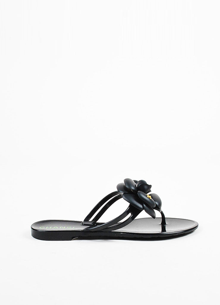Chanel Black Rubber Camellia Flower Jelly Thong Flat Sandals Sideview
