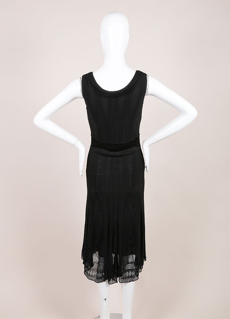 Black Stretch Knit Ribbed Pleated Embroidered Lace Trim Sleeveless Dress