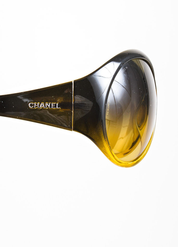 "Brown and Yellow Chanel Plastic Oversized Round ""6015"" Sunglasses Detail"