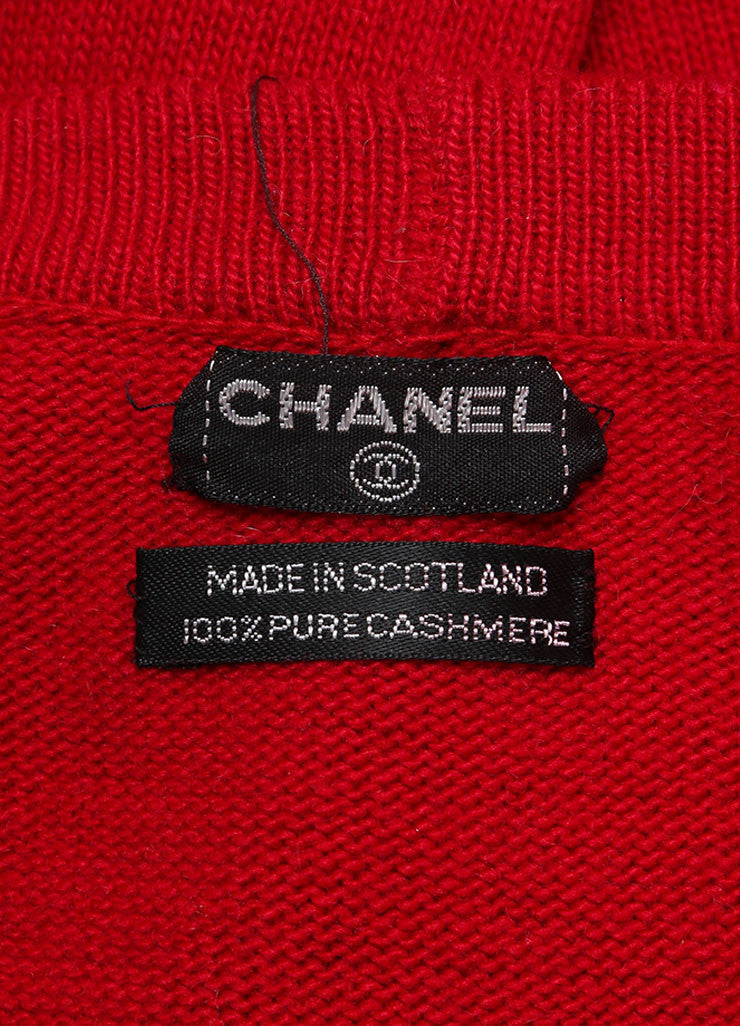 Chanel Red Cashmere Long Sleeve Front Button Cardigan Brand